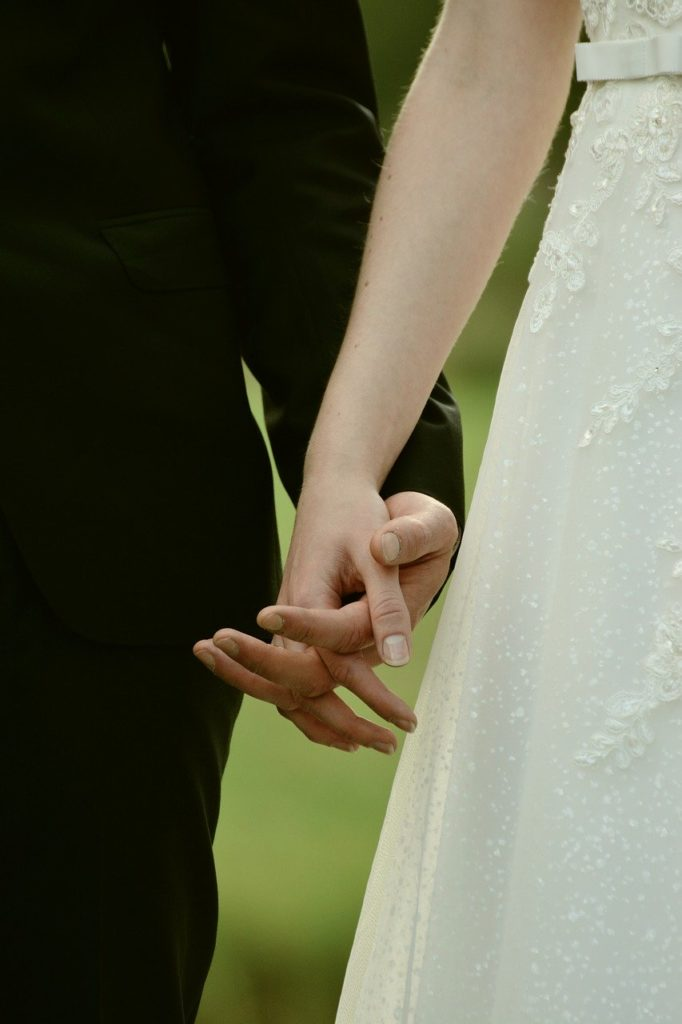 bride and groom, hands, together