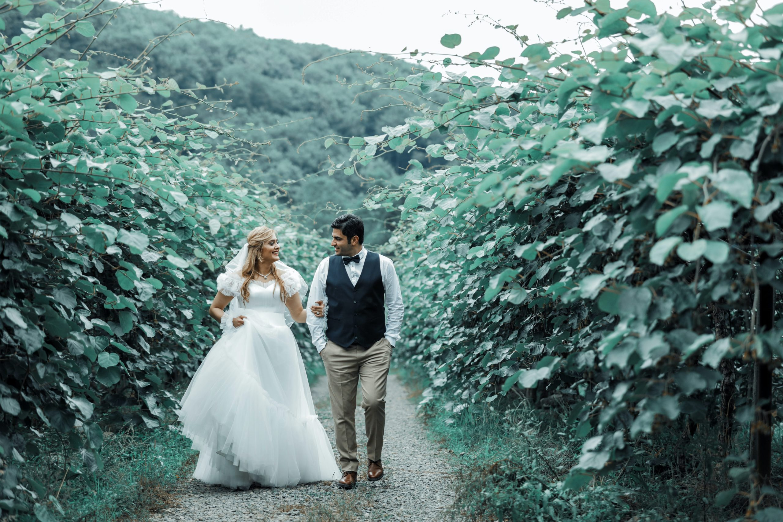 bride-and-groom-walking-on-a-pathway-between-plants-2909569